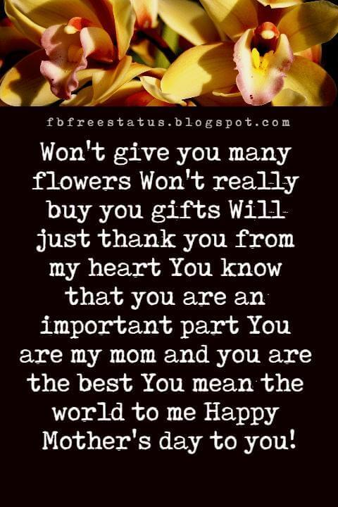 great mothers day messages, Won't give you many flowers Won't really buy you gifts Will just thank you from my heart You know that you are an important part You are my mom and you are the best You mean the world to me Happy Mother's day to you!