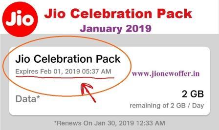 jio celebration pack January 2019