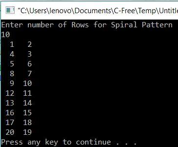 Spiral Pattern in C