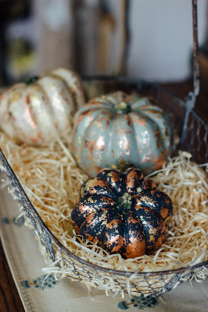 Gold leaf Pumpkin display