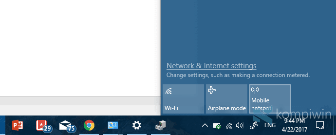 mobile hotspot di windows 10