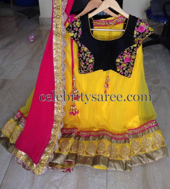 Yellow Lehenga with Black Blouse