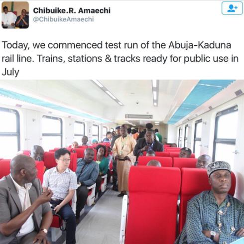 Kaduna-Abuja rail will be availale to public by july, Minister of Transport, Rotimi Amaechi,