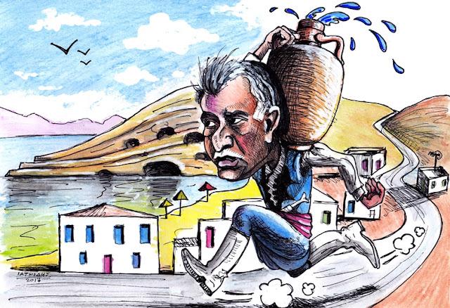IaTriDis Γελοιογραφία για την εφημερίδα Άποψη του Νότου, Κρήτη, με θέμα το πρόβλημα νερού στα παράλια του Δήμου Φαιστού