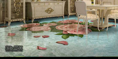 3D floor tiles designs images ideas patterns for all rooms
