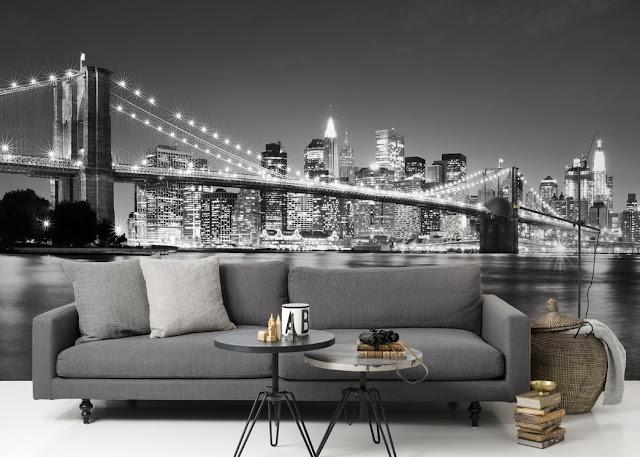 3D Tapetti new york tapetti musta valkoinen brooklyn bridge