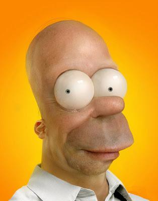 Caricatura de Homero Simpson con un aspecto muy real.
