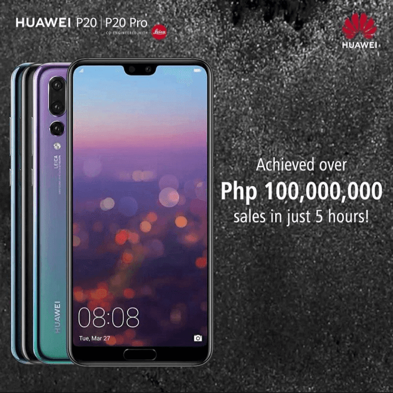 Huawei P20 series scored post-launch sales of over PHP 100,000,000 in just 5 hours!
