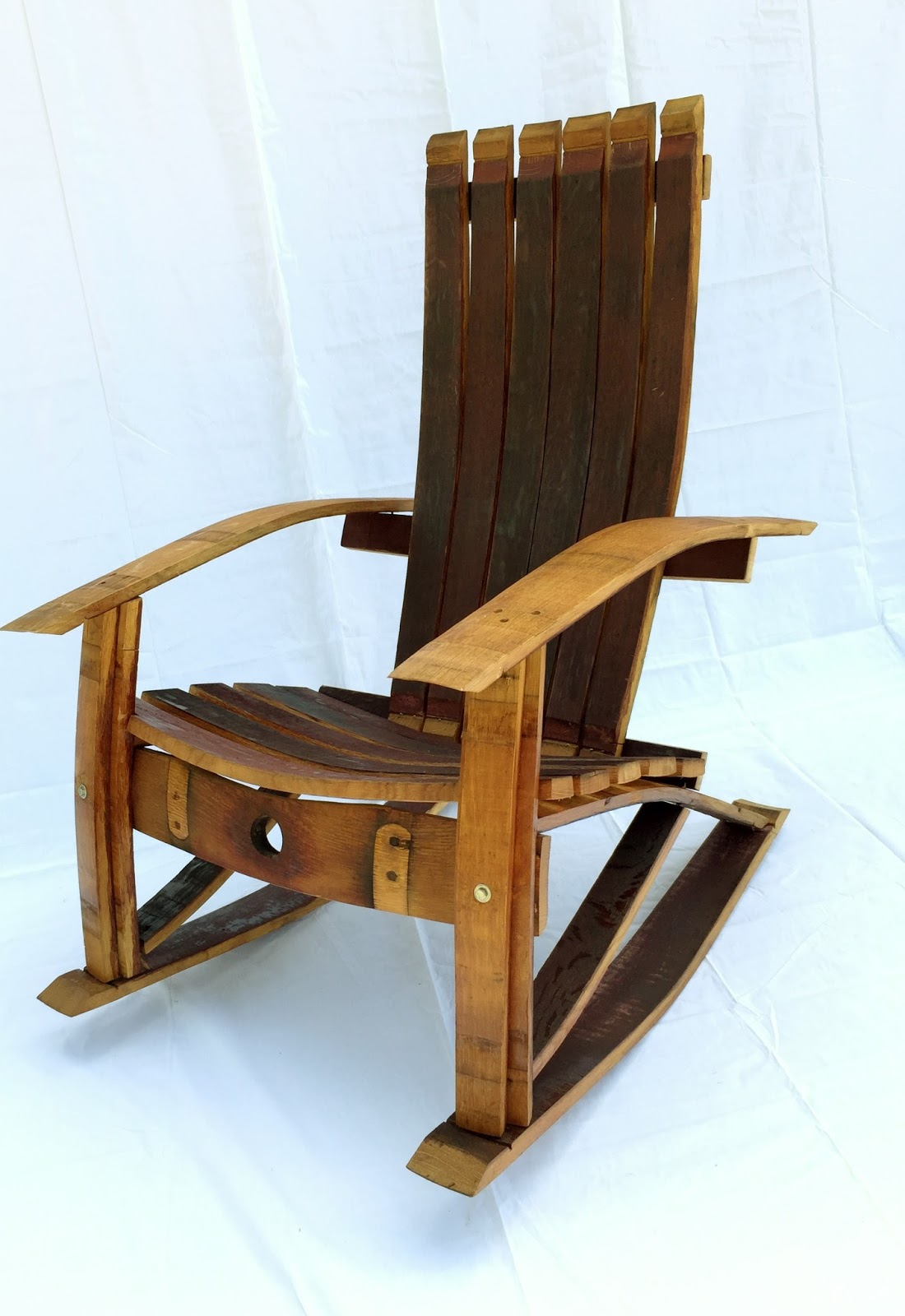 Wine barrel rocking chair - Wine Barrel Adirondack Rocking Chair Measures 43 H X 28 W X 41 L