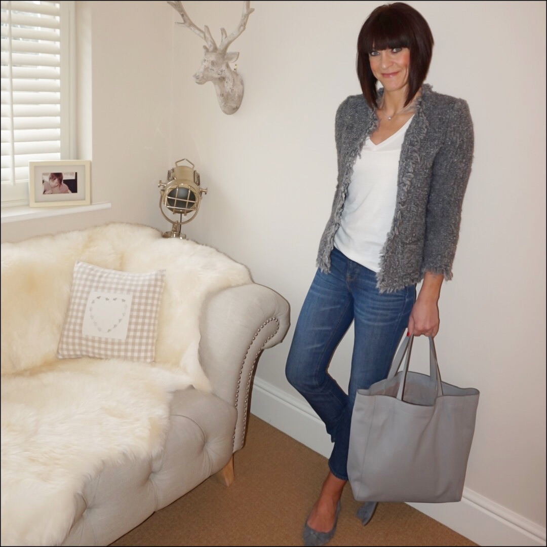 my midlife fashion, iro paris knitted boucle jacket, j crew deep v neck marl t shirt, j crew billie demi crop jeans, j crew tassel flat ballet pumps, the white company everyday leather tote