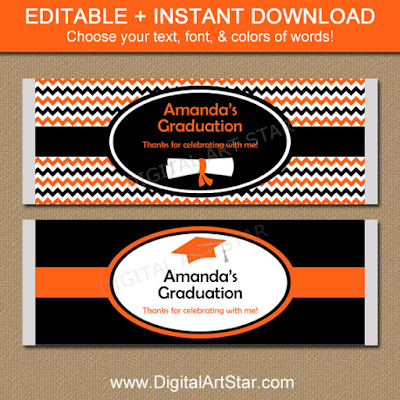 Orange & Black Chevron Graduation Chocolate Bar Wrappers Template