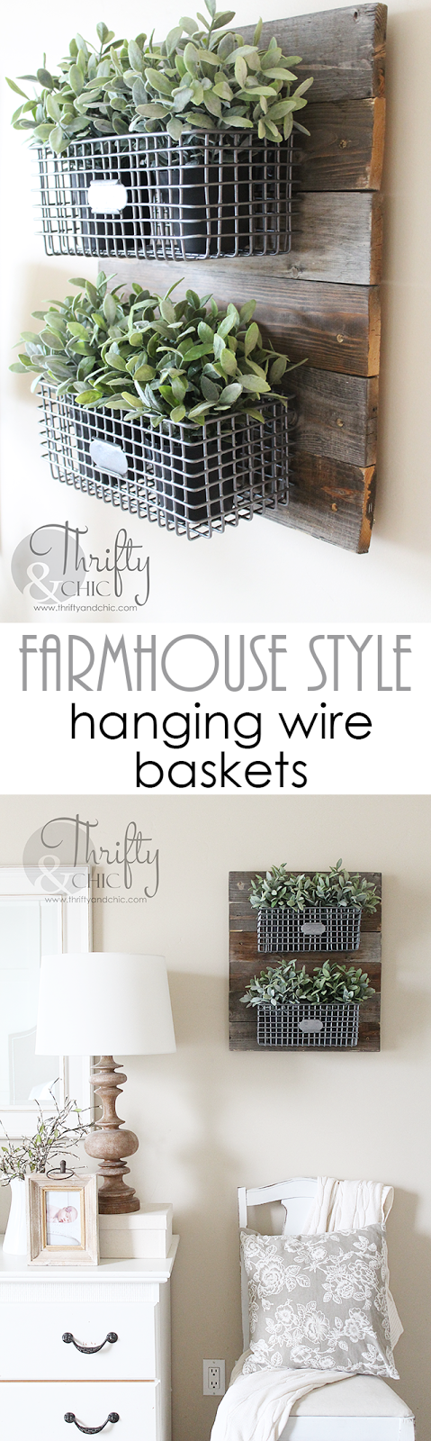 DIY farmhouse style hanging baskets. Perfect for storage, mail sorting, or hanging herb garden