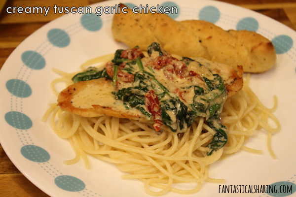 Creamy Tuscan Garlic Chicken #recipe #copycat #chicken #spinach #pasta