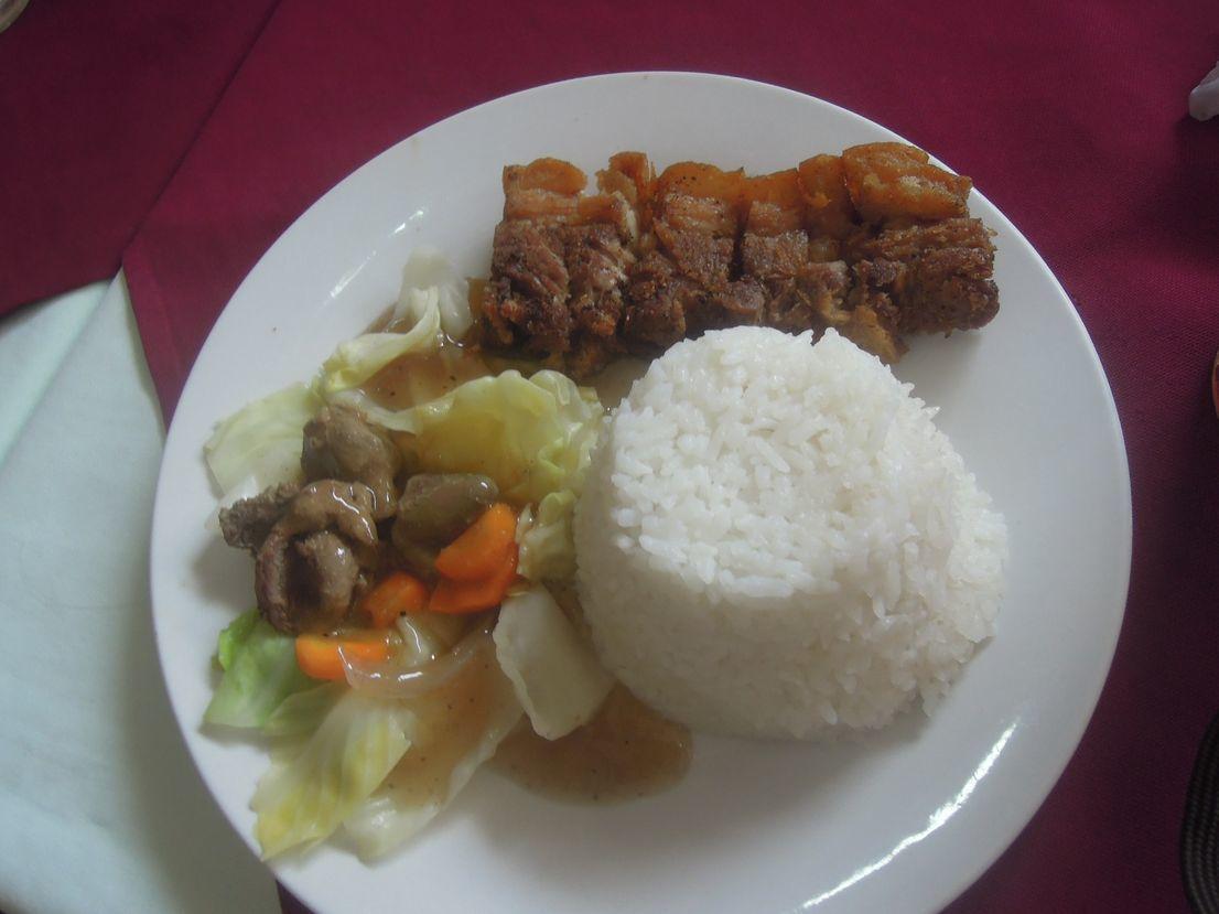 Lechon kawali with rice and chop suey at Lolo Claro's Restaurant