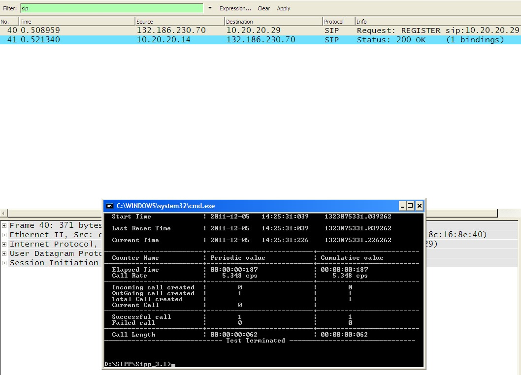 SIPP: SIPp Register - Output screen