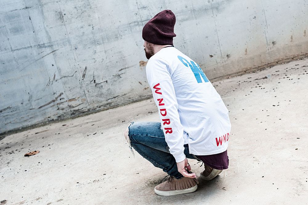 WNDRR Detox L/S White Tee / Clearweather ONE-O-ONE Sand Mocassin / MNML M1 Denim / Nixon Regain Bordeaux Beanie / H&M Burgundy Scoop Tee by Tom Cunningham