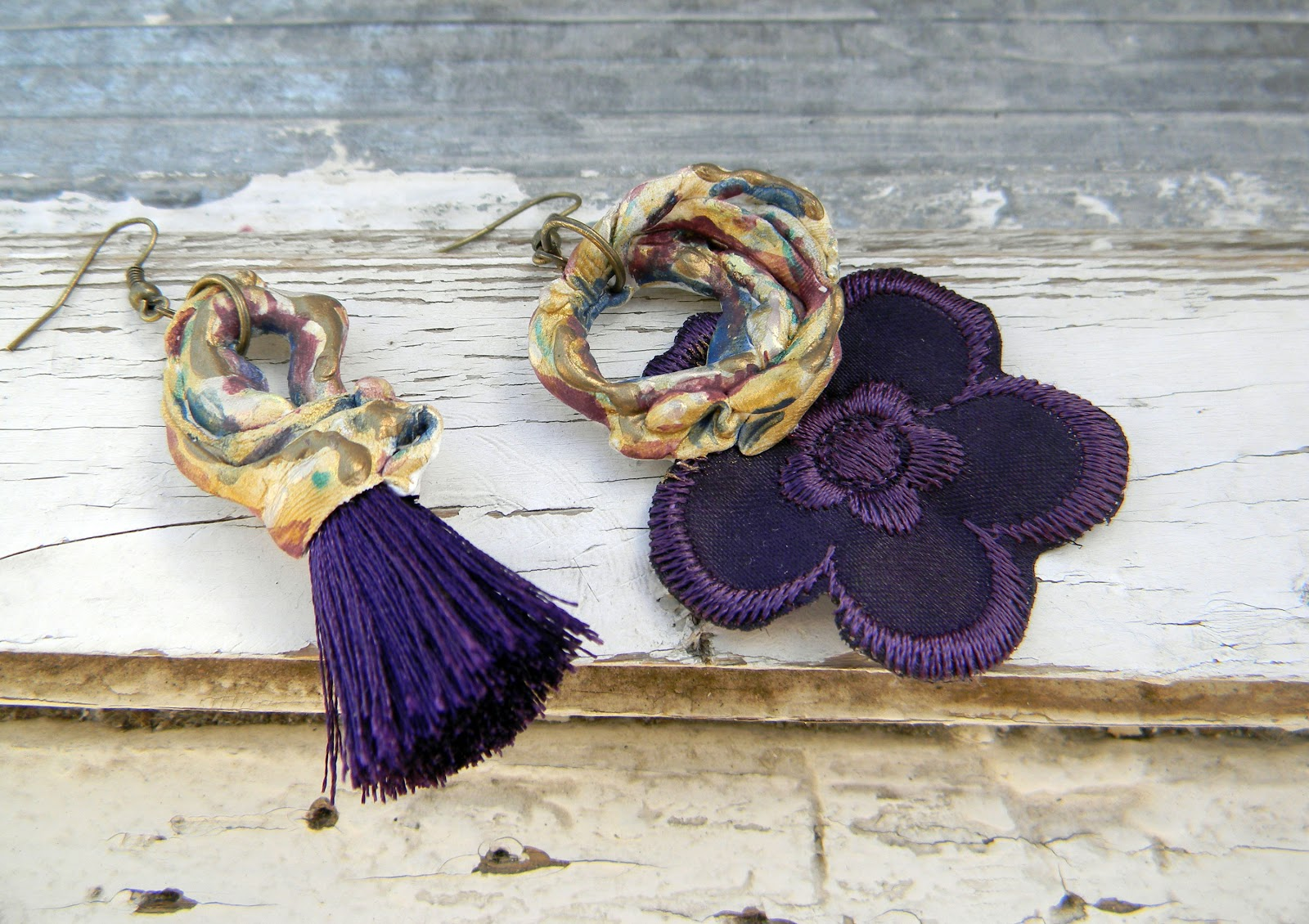 Handmade Earrings Clay Sculpture Violet Drama
