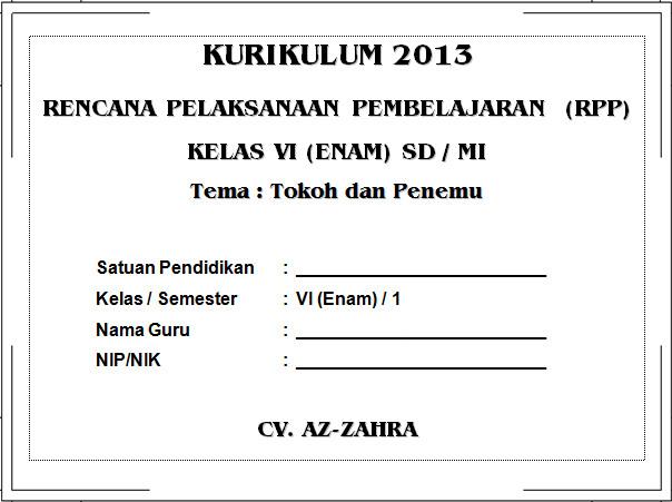 RPP Kurikulum 2013 SD KELAS 6 SEMESTER 1 - Tokoh dan Penemu