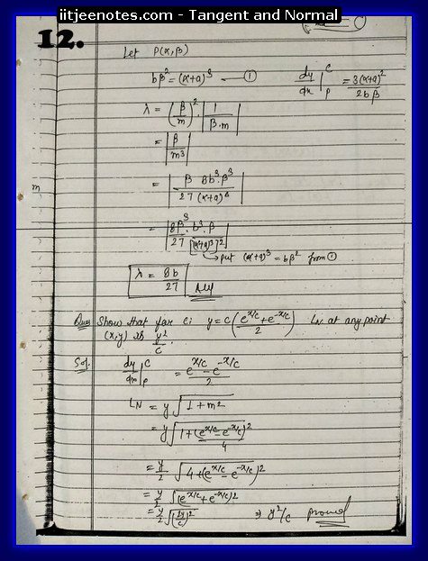 Tangent and Normal Notes7