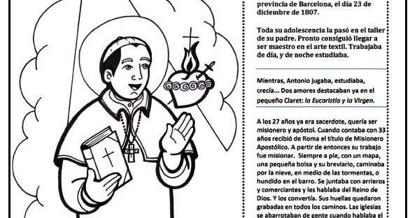 Dibujos De San Antonio Para Colorear: El Rincón De Las Melli: San Antonio María Claret (historia