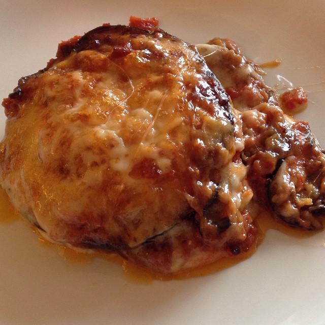 gratin de riz aux tomates, aubergines, mozzarella, parmesan