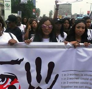 SAY NO TO DOMESTIC VIOLENCE!! Actress Tonto Dikeh, Mercy Aigbe, Dolapo Badmus, Foluke Daramola, others join Olori Wuraola on a road walk  in Lagos to campaign against Domestic Violence(Photos)