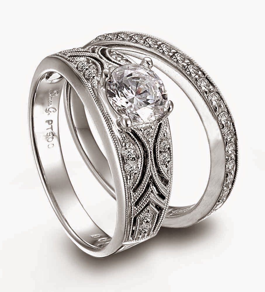 Matching Hand Engraved Wedding Ring Sets Model