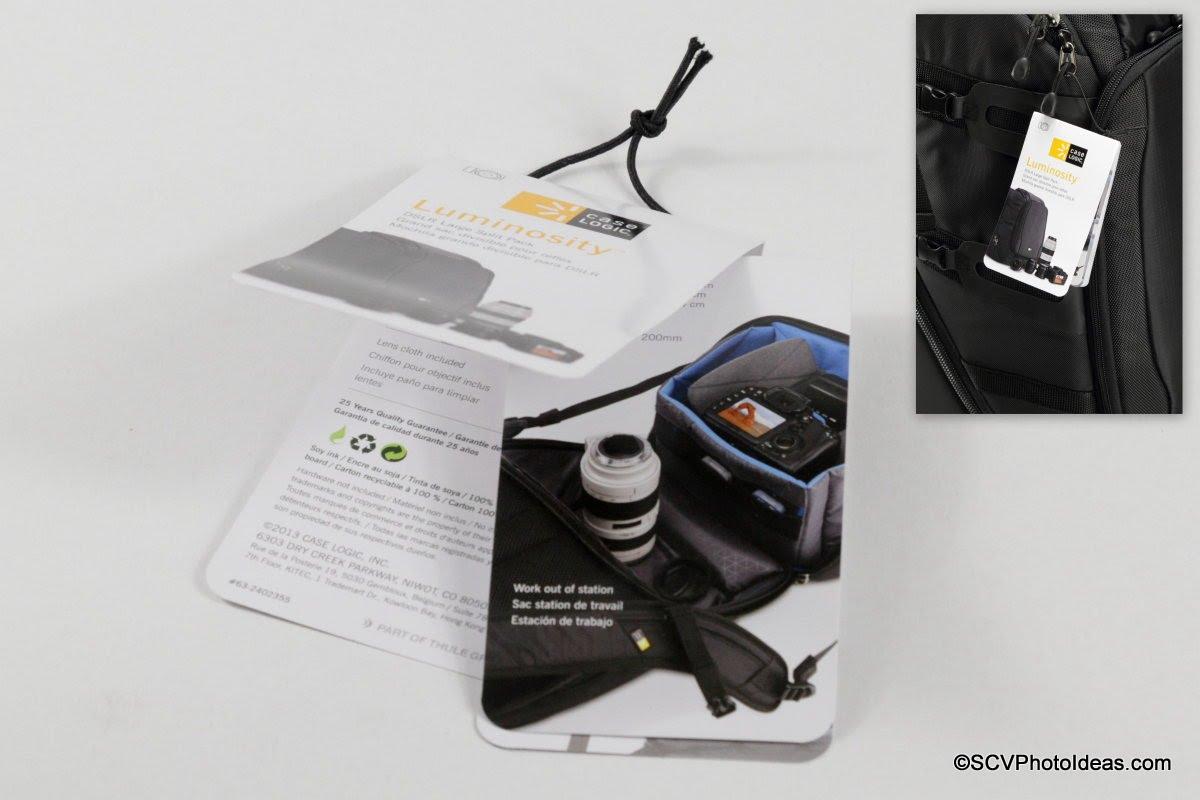 Case Logic DSB-103 DSLR Split Pack Tag / Manual
