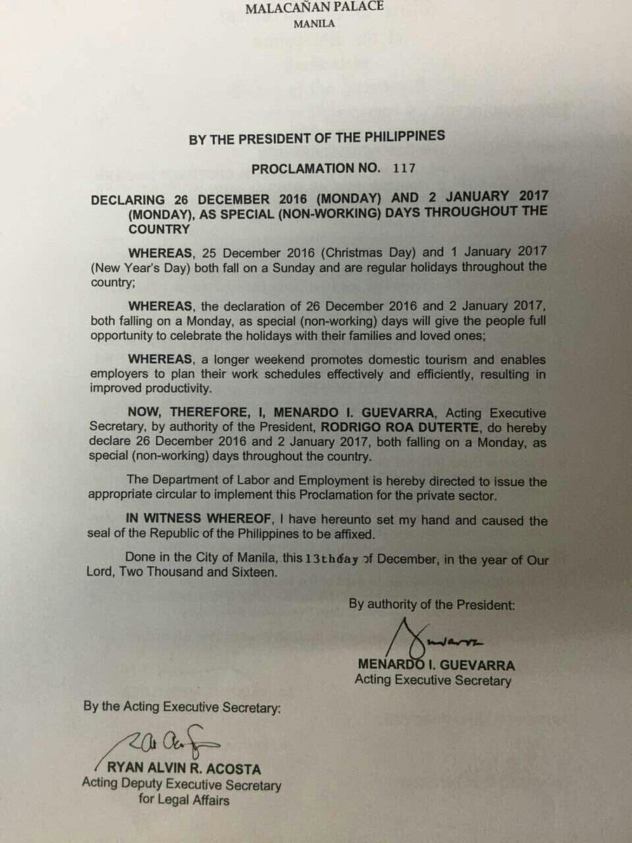 Palace declares December 26, 2016 and January 2, 2017 special holidays
