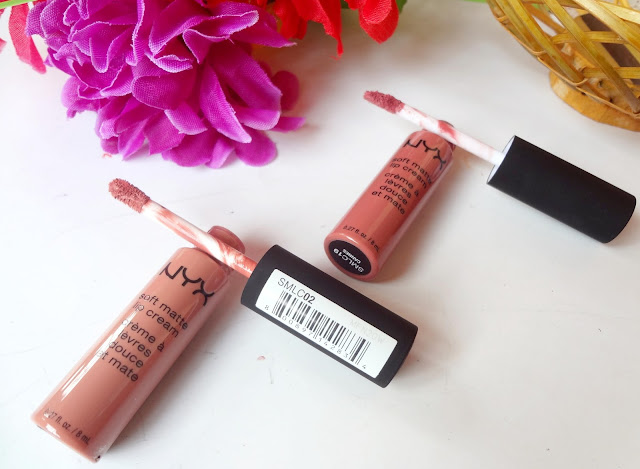 NYX soft matte lip cream in shade Stockholm and Cannes