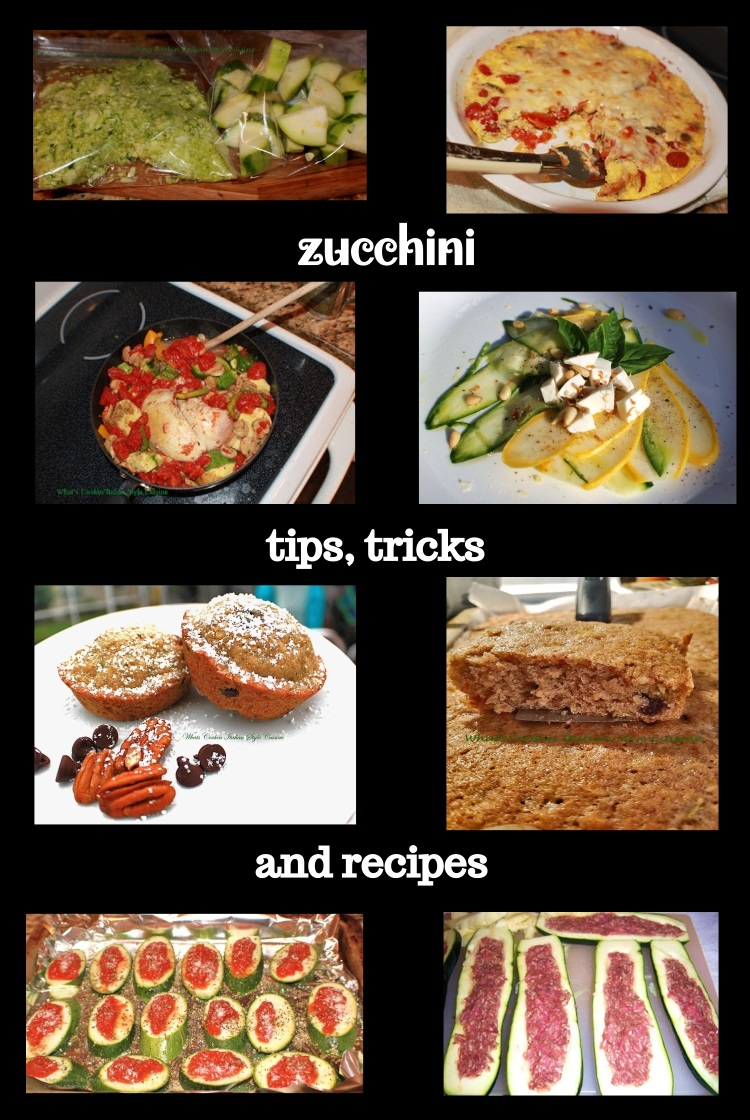 This is a collage of zucchini recipes made with zucchini that was frozen to make various recipes all year long. Zucchini cubed, shredded, sliced and cut in half for stews, cakes, muffins and from savory to sweet recipes using zucchini