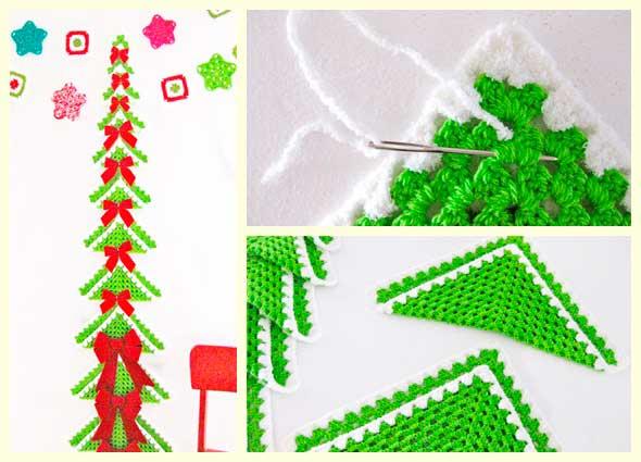 árbol, Navidad, grannys, crochet, ganchillo, cuadrados, abuela, poster