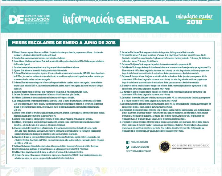 Escuela Claudio Ferrer Cotto Calendario Escolar 2017 2018 Enmendado