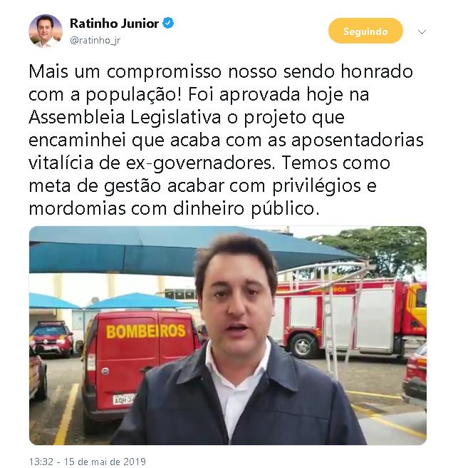 FIM DAS APOSENTADORIAS DE GOVERNADOR NO PARANÁ