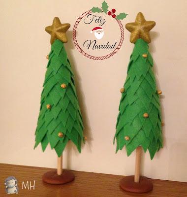 arbolitos navideños en fieltro