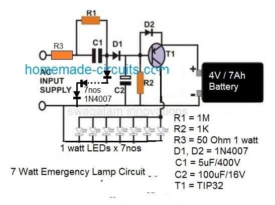 5 watt simple transformerless surge free emergency lamp circuit