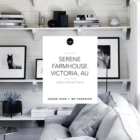 Serene farmhouse in Victoria, Australia. Styling by Tess Newman-Morris, photos by Sharyn Cairns via Homelife