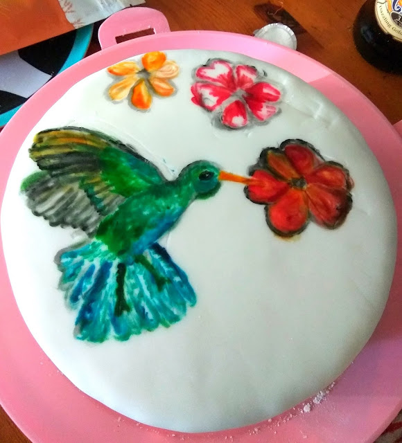 Handpainted Hummingbird Cake