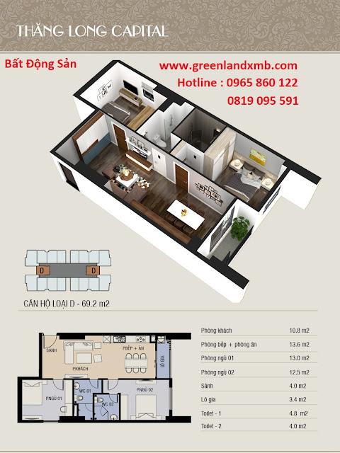 Mặt bằng 3D căn hộ 69,2m2 - căn 2 phòng ngủ và diện tích.