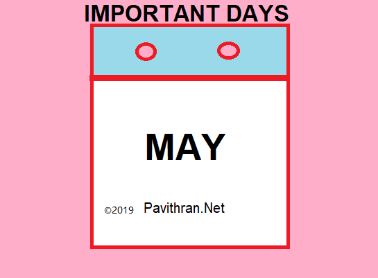 Important National and International Days & Events of May 2019