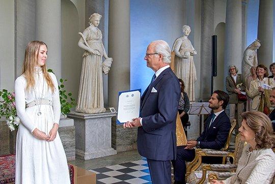 King Carl Gustaf, Queen Silvia and Prince Carl Philip at a award ceremony. Princess Madeleine, Princess Leonore, Princess Sofia, Estelle,Victoria