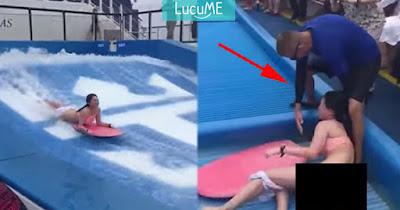Celana Wanita Ini 'Melorot' Saat Simulasi Surfing, Pemandunya Bikin Salut
