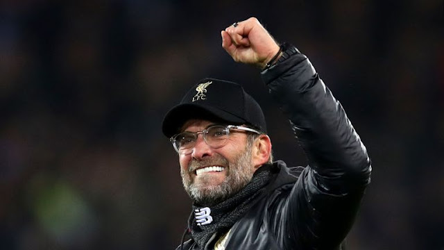 Liverpool FC Jurgen Klopp Celebrates Late Save