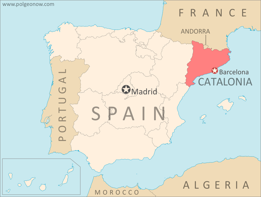 catalonia and spain map of catalonias location within spain and relative to neighboring countries