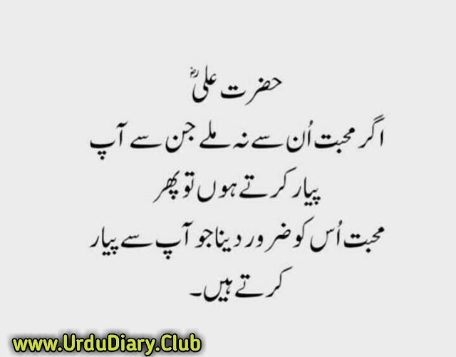 Best Hazrat Ali Quotes Images In Urdu - Agar Muhabbat un se na mily