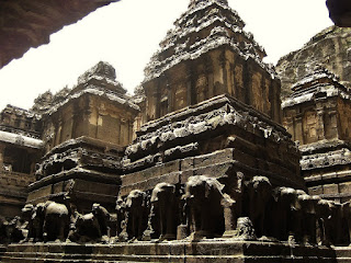 major part of the temple was completed during the reign of Krishna I. According to Dhavalikar, the following components were completed by Krishna I. the main shrine, its gateway, the nandi-mandapa, the lower-storey, the elephant-lion frieze, the court elephants and the victory pillars.
