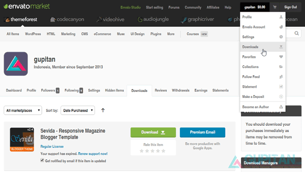 Cara Membeli Template Blog Premium di Themeforest