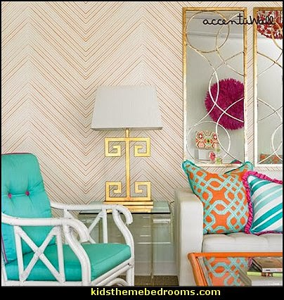 Chevron Lines Orange Peel & Stick Fabric Wallpaper