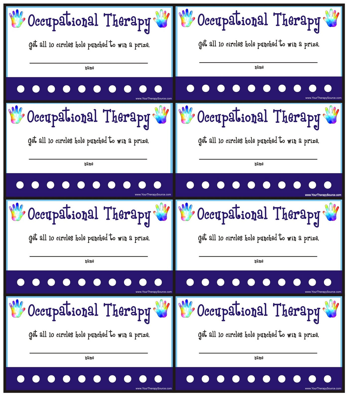Punch Cards For Ot Pt Your Therapy Source