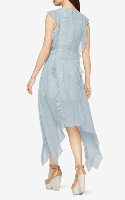 e977285f3466 In diaphanous chiffon with ruffled trims, this sleeveless dress has been  printed with wild flowers that fall below the knee with its languid  handkerchief ...